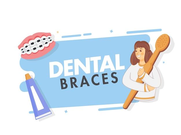 Cartoon ragazza giovane azienda spazzolino da denti con parentesi graffe dentali e dentifricio su sfondo bianco e blu.