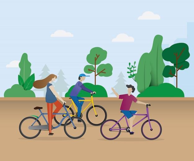 Giovani del fumetto in bicicletta all'aperto. ragazza in bicicletta. ragazzo ciclista, uomo ciclista. tempo libero attivo stile di vita sano all'aperto. design in stile piatto isolato su sfondo bianco