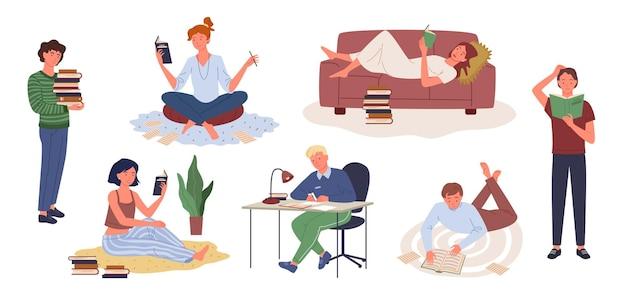 Cartone animato, giovane donna, presa a terra, libro, e, studiare, uomo, carattere, seduta, a, tavola, fare, lavoro, happy