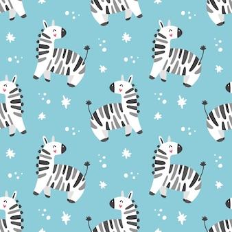 Modello senza cuciture delle zebre del fumetto per i bambini stampa per carta da parati in tessuto pap