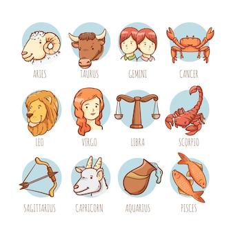Collezione di segni zodiacali dei cartoni animati