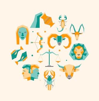 Icone del modello di design rotondo simbolo dello zodiaco del fumetto impostate gli elementi astrologici del concetto di design di stile piano per il web. Vettore Premium