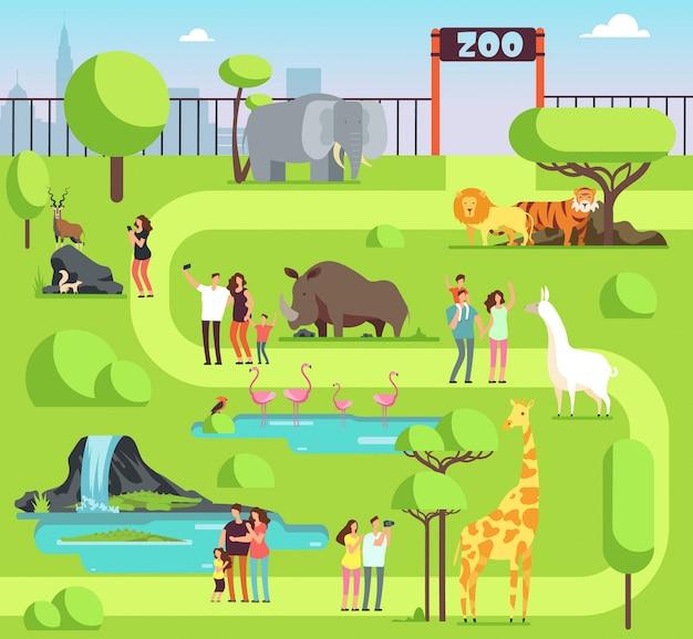 Zoo di cartone animato con visitatori e animali safari.