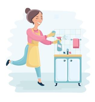 Cartoonfunny illustrazione della casalinga che tiene spray per la pulizia e pulisce la cucina