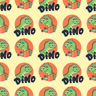 Dinosauri cartoonish con una frase scritta.