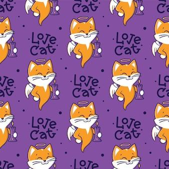 Gattino da cartone animato con una frase scritta