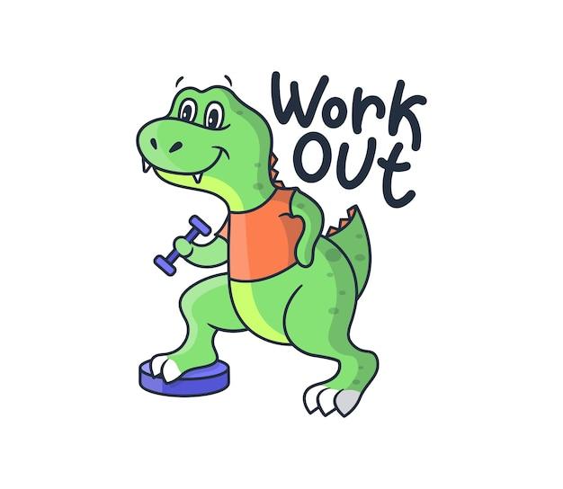Dinosauro sportivo da cartone animato con una frase scritta - allenati. il ragazzo dinosauro verde con una maglietta arancione tira su un manubrio.
