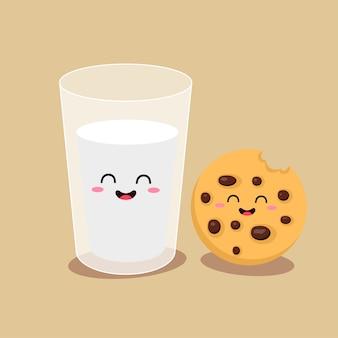 Cartoni animati di personaggi comici bicchiere di latte e biscotti