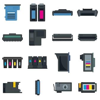 Set di icone della cartuccia. set piatto di icone vettoriali di cartuccia isolato su sfondo bianco