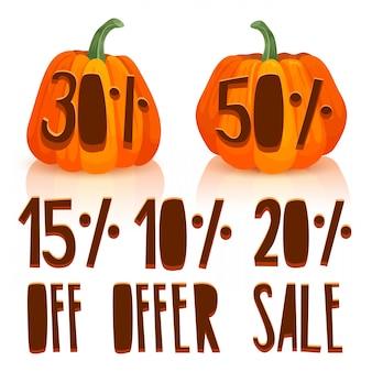 Scolpisci una zucca per la vendita autunnale il design delle zucche arancioni con sconti percentuali imposta la zucca per l'offerta autunnale