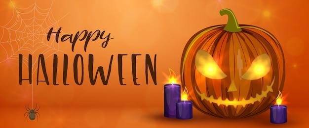 Zucche di halloween intagliate, banner orizzontale. illustrazione di halloween spaventoso colorato.