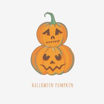 Zucche intagliate di halloween. illustrazione vettoriale con zucche disegnate a mano per halloween.