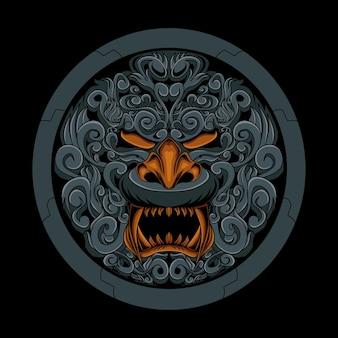 Ornamento di maschera intagliato