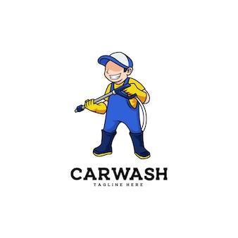 Carattere dell'operaio dell'automobile della rondella della mascotte dell'autolavaggio dell'uomo