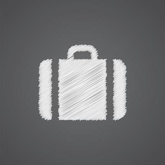 Icona di doodle di logo di schizzo di caso isolato su sfondo scuro