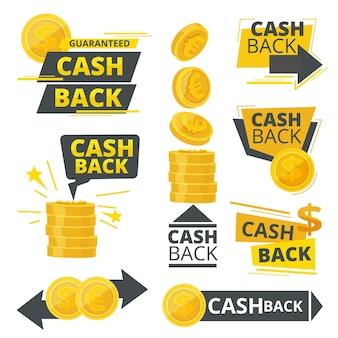 Cash back. annunci promozionali badge adesivi offerte speciali servizio di denaro foto.