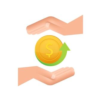 Icona della moneta cash back con la mano isolata su sfondo bianco etichetta cash back o rimborso in denaro