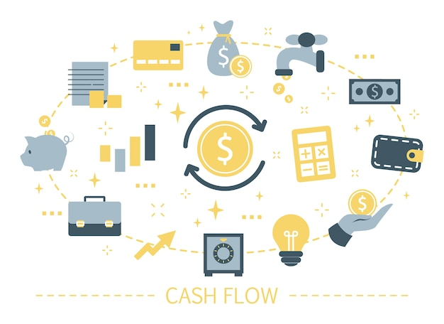 Concetto di flusso di cassa. idea di crescita finanziaria