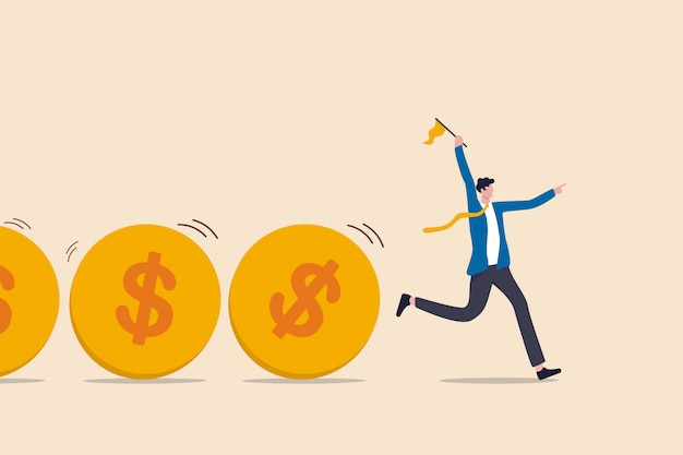 Flusso di cassa, flusso di fondi di investimento, raccolta fondi, prestito bancario o attività finanziaria per fare soldi o concetto di profitto, leader di uomo d'affari o investitore che detiene il controllo del flusso di denaro delle monete in dollari.