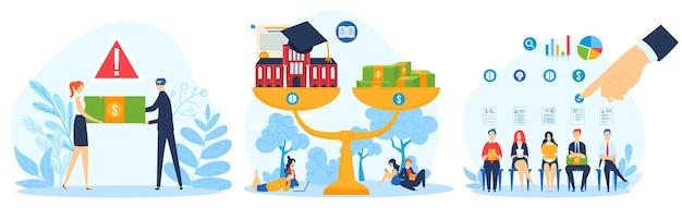 Denaro contante, concetto di operazioni finanziarie, transazioni, investimenti e fatturato in contanti, illustrazioni.