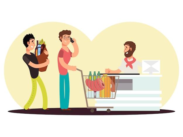 Girare in contanti nel negozio di alimentari. gli uomini del personaggio dei cartoni animati comprano l'alimento nell'illustrazione di vecor del supermercato