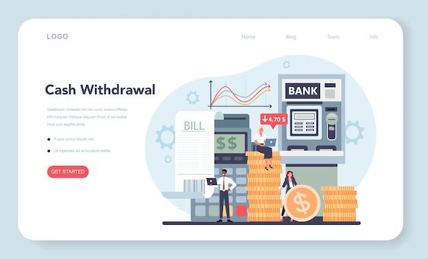 Banner web o pagina di destinazione del concetto di prelievo di contanti. idea di reddito finanziario, risparmio di denaro e ricchezza.