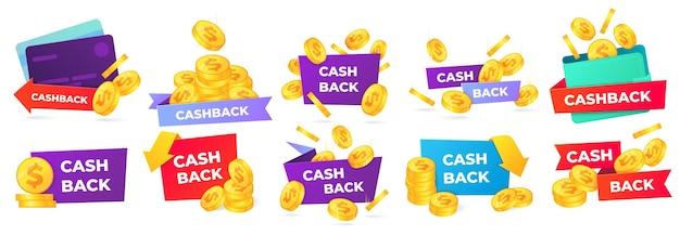 Distintivi cashback. etichetta di restituzione del denaro, offerte di vendita in negozio e banner di rimborso.