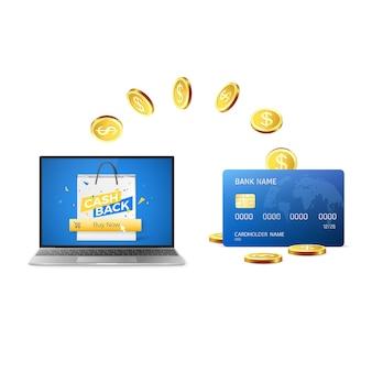 Cashback concept le monete d'oro tornano sulla carta di credito dopo aver acquistato le cose online