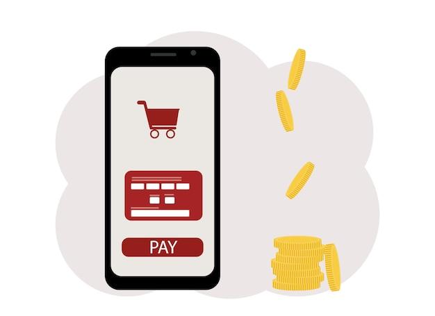 Concetto di rimborso. illustrazione vettoriale di un telefono cellulare con l'immagine di una mappa, vicino a un mucchio di monete. acquisti online
