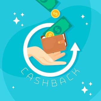 Concetto di cashback con banconote e monete