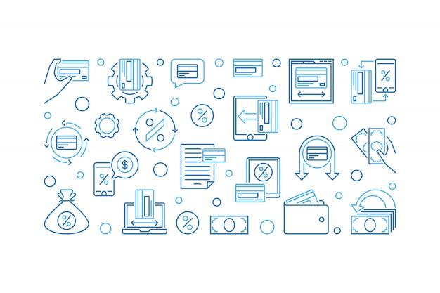 Insegna orizzontale di rimborso, illustrazione blu dell'icona di cashback