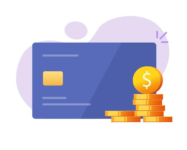Icona di cashback o ritorno di denaro contante alla carta di credito come illustrazione piana del fumetto del programma bonus