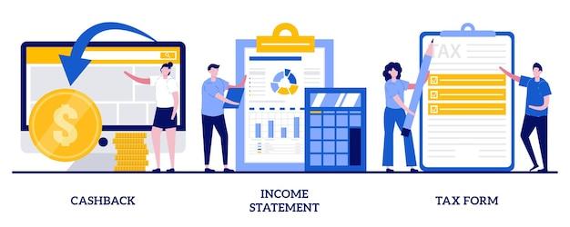 Cashback, dichiarazione dei redditi, concetto di modulo fiscale con persone minuscole. insieme di contabilità e contabilità. rimborso di denaro online, consulenza finanziaria.