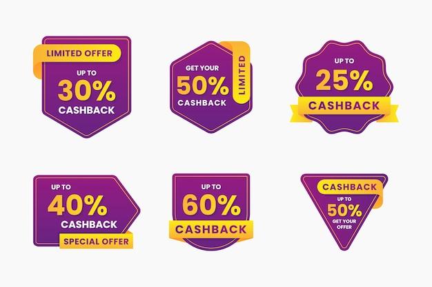 Collezione di etichette cashback con sconti