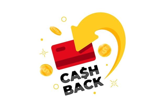 Concetto di programma fedeltà cashback. carta di credito o di debito con monete restituite al conto bancario. progettazione del servizio di rimborso in denaro. illustrazione vettoriale del simbolo di rimborso del bonus