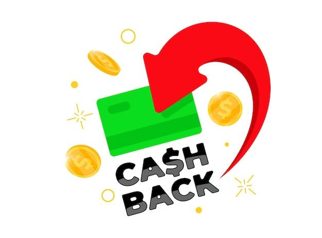 Concetto di programma fedeltà cashback. carta verde di credito o di debito con monete restituite al conto bancario. progettazione del servizio di rimborso in denaro. illustrazione vettoriale eps di simbolo di rimborso bonus bonus