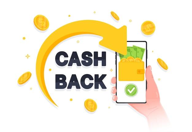 Concetto di programma fedeltà cashback risparmiare denaro app di servizio di rimborso di denaro