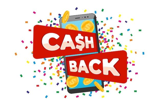 Concetto di programma fedeltà cashback. smartphone con monete d'oro restituite sullo schermo e scritta cash back. progettazione del servizio di rimborso in denaro. illustrazione eps di vettore di simbolo di transazione di bonus di mobile banking