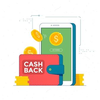 Servizio di cashback online risparmia denaro con l'app mobile per il pagamento con trasferimento di monete e smartphone
