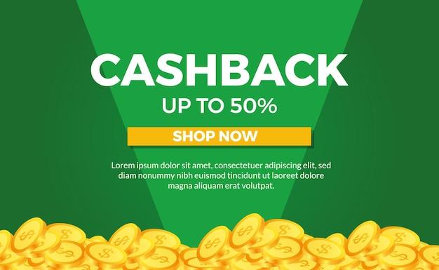 Modello di banner poster promozione cashback con moneta d'oro Vettore Premium
