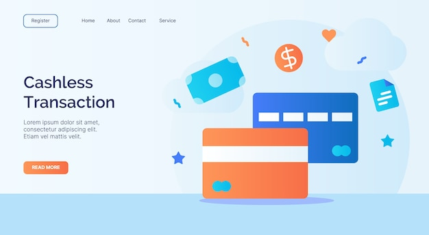 Campagna dell'icona della carta di credito bancaria di debito di transazione senza contanti per il modello di atterraggio della pagina iniziale del sito web web con stile del fumetto.