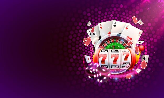Copertura del casinò 3d, slot machine e roulette con carte, sfondo
