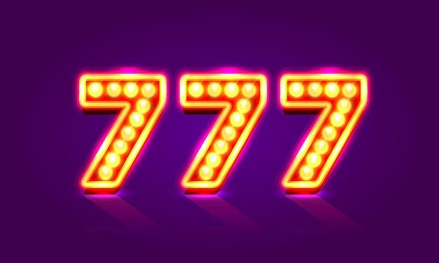 Insegna al neon del casinò 777, triplo sette del vincitore, icona del jackpot del casinò, numero fortunato, illustrazione vettoriale