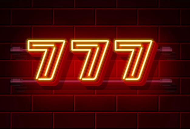 Insegna al neon del casinò 777 vincitore triplo sette numero fortunato dell'icona del jackpot del casinò