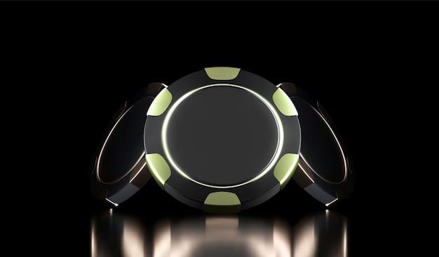 Sfondo di casinò. chip del gioco del casinò 3d. banner del casinò online. chip realistico nero e oro. concetto di gioco d'azzardo, icona dell'app mobile di poker.