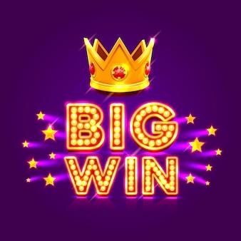 Banner del casinò grande vittoria super star. illustrazione vettoriale