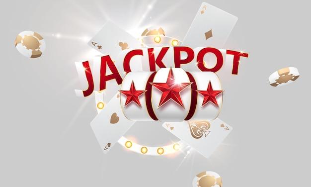 Design del jackpot del banner del casinò decorato con monete d'oro scintillanti.