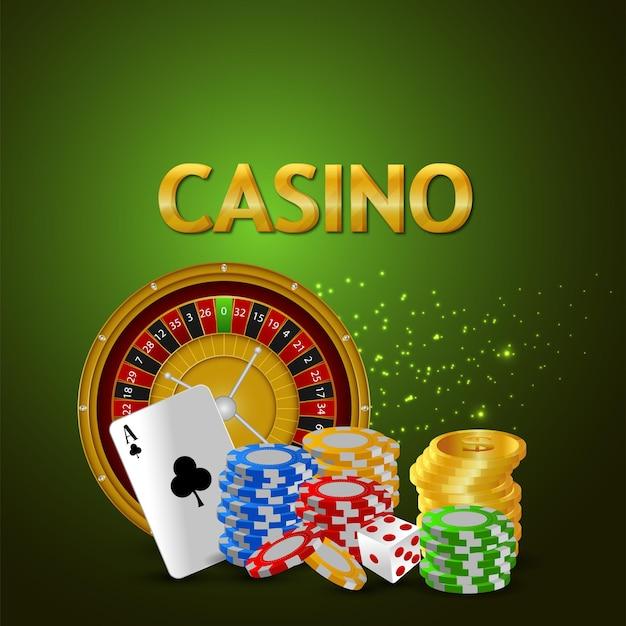 Banner di casinò con moneta d'oro creativa, ruota della roulette e carta da gioco