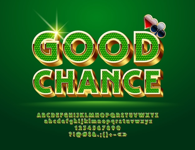 Casino chic golden alphabet lettere, numeri e simboli di punteggiatura.