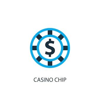 Icona del chip del casinò. illustrazione dell'elemento logo. disegno di simbolo di chip del casinò da 2 collezione colorata. semplice concetto di chip del casinò. può essere utilizzato in web e mobile.